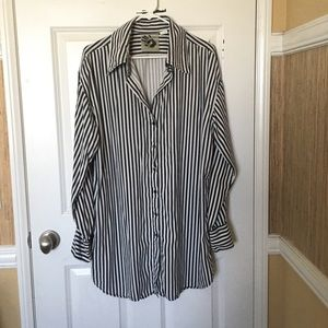 Black and White Striped Button Down Top